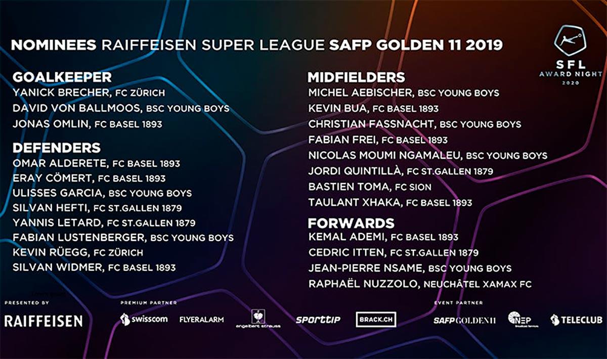 Nominees SAFP Golden 11 2019